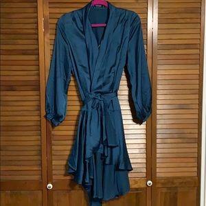 Nasty Gal blue satin flowy dress